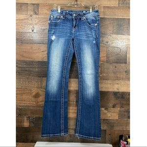 Miss Me Low Rise Bootcut Distressed Bling Jeans